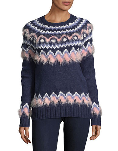 Buffalo David Bitton Faux Fur Contrast Sweater-BLUE MULTI-Large