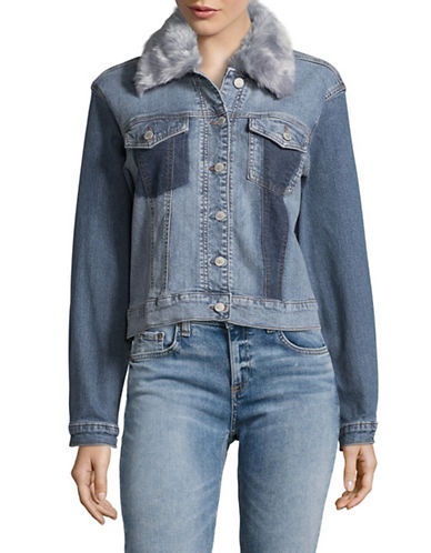 Buffalo David Bitton Nicci Patchwork Denim Jacket-BLUE-Large