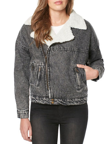 Buffalo David Bitton Hailey Denim Moto Jacket-BLACK-X-Small
