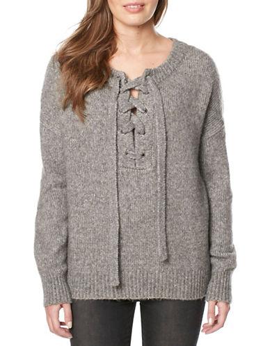Buffalo David Bitton Wool-Blend Lace-Up Sweater-GREY-Small