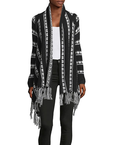 Buffalo David Bitton Printed Fringe Cardigan-BLACK-X-Small