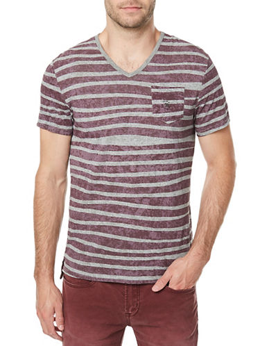 Buffalo David Bitton Striped Knit V-Neck T-shirt-PURPLE-Medium