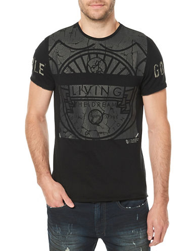 Buffalo David Bitton Crackle Graphic Cotton Tee-BLACK-Large