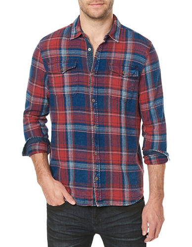 Buffalo David Bitton Plaid Cotton Sport Shirt-BLUE-Medium