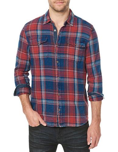 Buffalo David Bitton Plaid Cotton Sport Shirt-BLUE-Large