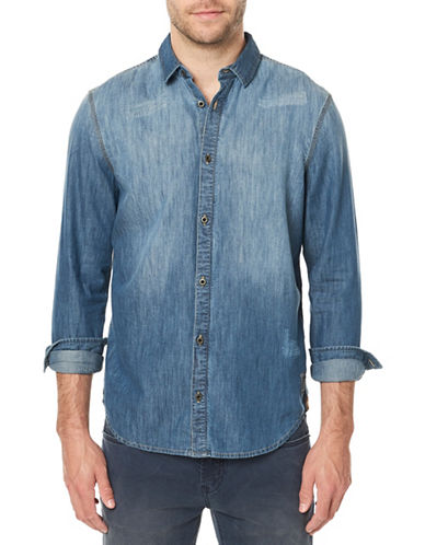 Buffalo David Bitton Sikuel Denim Sport Shirt-BLUE-X-Large