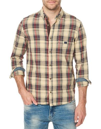 Buffalo David Bitton Plaid Cotton Sport Shirt-SILVER-Medium