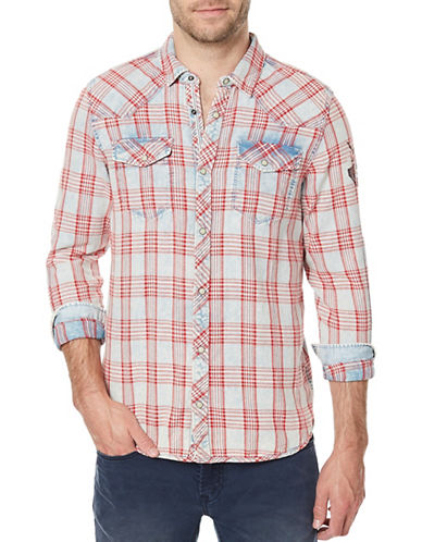 Buffalo David Bitton Siquel Woven Denim Plaid Sport Shirt-RED-Medium