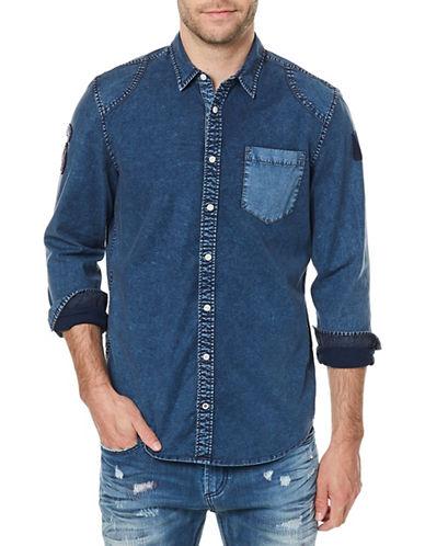 Buffalo David Bitton Silvur Denim Sport Shirt-BEIGE-X-Large