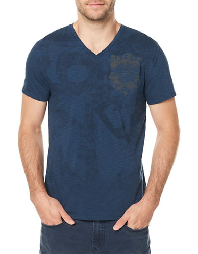 Buffalo David Bitton V-Neck Cotton Tee-GREY-Large