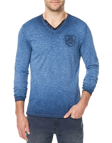 Buffalo David Bitton Long Sleeve Cotton Tee-BLUE-Large