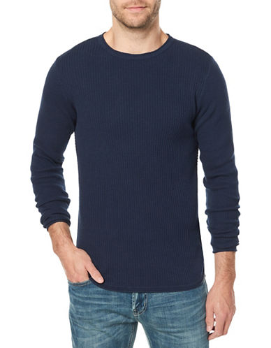 Buffalo David Bitton Cotton Crew Neck Sweater-BLUE-Large