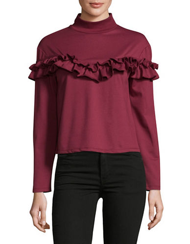Buffalo David Bitton Heathered Mock Neck Top-PURPLE-Small