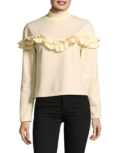 Buffalo David Bitton Heathered Mock Neck Top-CREAM-X-Small