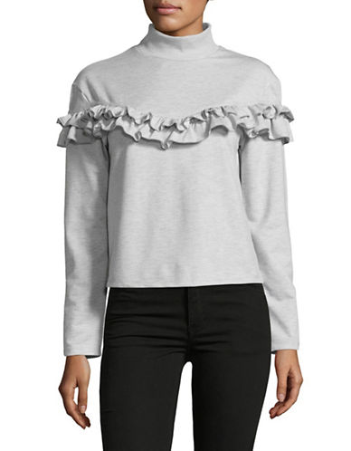 Buffalo David Bitton Heathered Mock Neck Top-GREY-X-Small