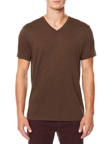 Buffalo David Bitton Short Sleeve Cotton Tee-BROWN-Small