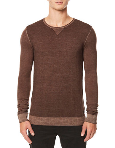 Buffalo David Bitton Long Sleeve Wool Top-BROWN-Large