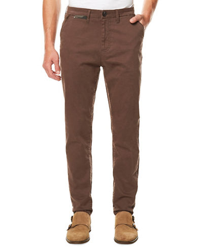 Buffalo David Bitton Slim-Fit Twill Trousers-BROWN-34
