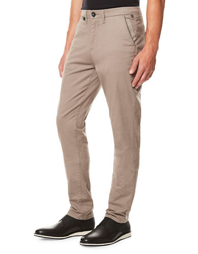 Buffalo David Bitton Slim-Fit Twill Trousers-GREY-34