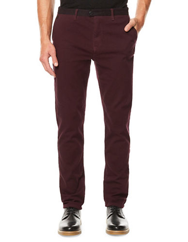 Buffalo David Bitton Slim-Fit Twill Trousers-PURPLE-34