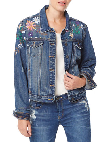 Buffalo David Bitton Nova Embroidered Denim Jacket-MID INDIGO-Large