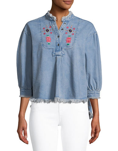 Buffalo David Bitton Kate Embroidered Chambray Top-BLUE-Large