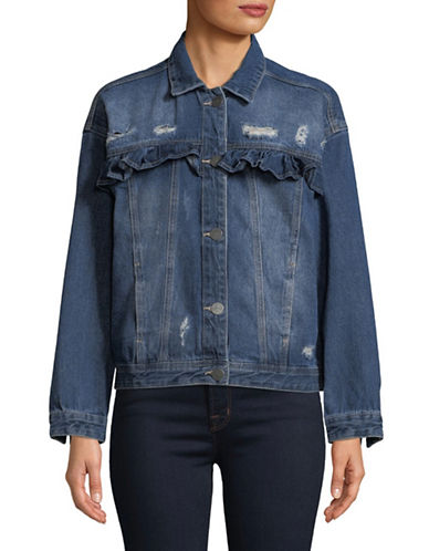 Buffalo David Bitton Ruffle Ripped Denim Jacket-BLUE-X-Small