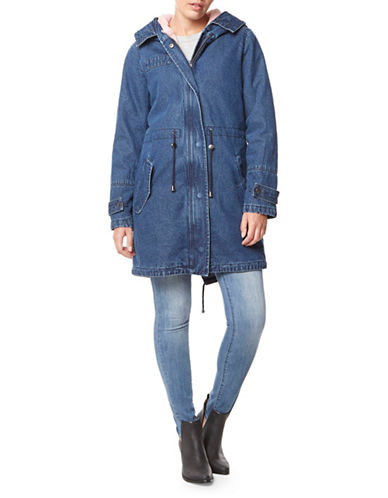 Buffalo David Bitton Faux Fur-Lined Denim Parka-BLUE-Small