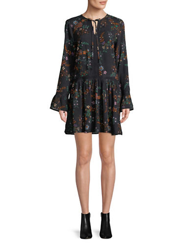 Buffalo David Bitton Embroidered Floral Dress-BLACK-X-Small