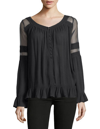 Buffalo David Bitton Lace & Mesh Flowy Bell Sleeve Top-BLACK-Large