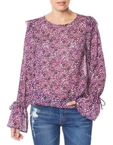 Buffalo David Bitton Floral-Print Puff-Sleeve Top-ROSE BLOOM-Large