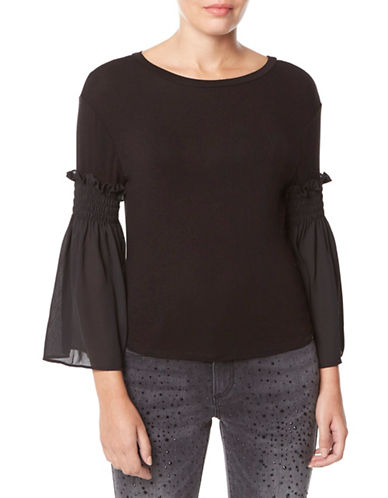 Buffalo David Bitton Ruched Bell-Sleeve Top-BLACK-X-Small