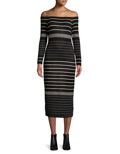 Buffalo David Bitton Stripe Off-The-Shoulder Dress-BLACK MULTI-Large