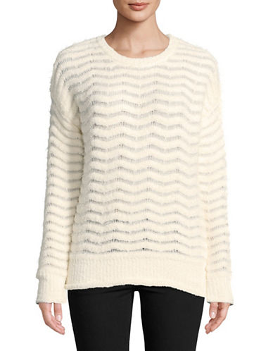 Buffalo David Bitton Zig-Zag Stitch Sweater-WHITE-Large