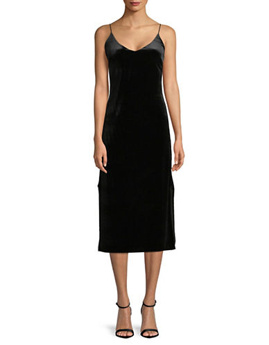 Buffalo David Bitton Velvet Spagetti Strap Slip Dress-BLACK-Large