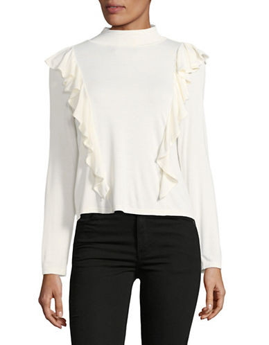 Buffalo David Bitton Mock Neck Ruffle Blouse-WHTE-Small