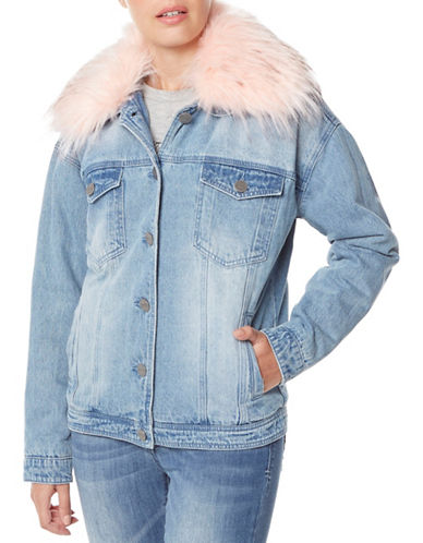 Buffalo David Bitton Faux Fur-Trimmed Denim Jacket-BLUE-Small