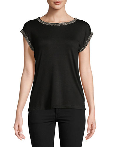 Buffalo David Bitton Bedazzled Trim Tee-BLACK-Small
