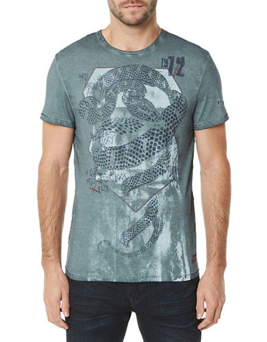 Buffalo David Bitton Snake-Print Crew Neck Cotton Tee-BLUE MIRAGE-Large