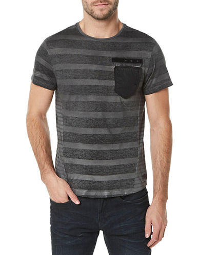 Buffalo David Bitton Striped Crew Neck Cotton Tee-BLACK-X-Large