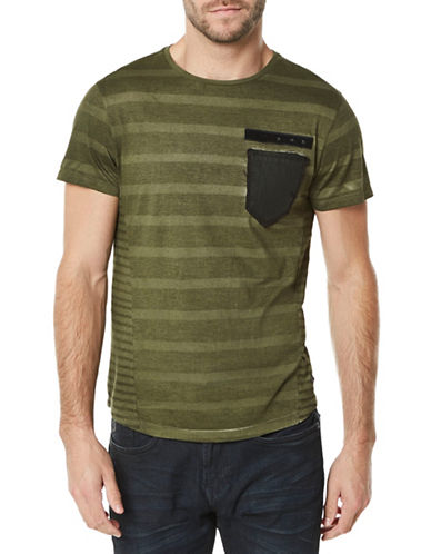 Buffalo David Bitton Striped Crew Neck Cotton Tee-FERN GREEN-Medium