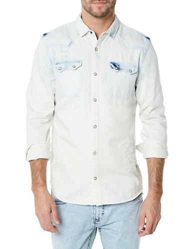Buffalo David Bitton Washed Denim Sport Shirt-INDIGO BLUE-Medium