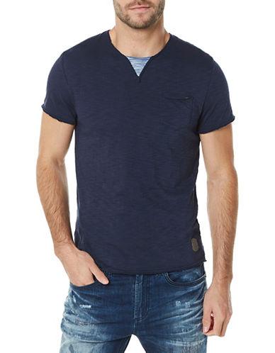 Buffalo David Bitton Short Sleeve Chest Pocket Tee-BLUE-Large 89893715_BLUE_Large