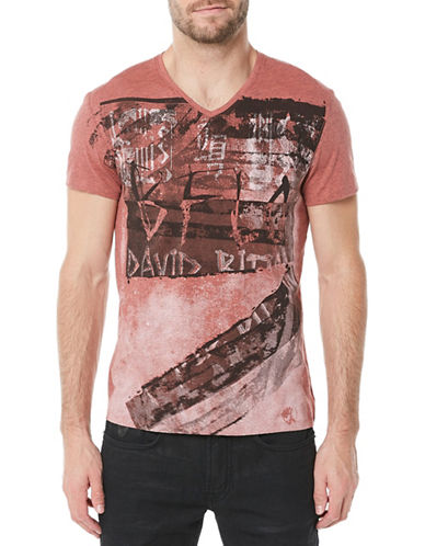 Buffalo David Bitton Tokane V-Neck T-Shirt-RED-Medium 90002887_RED_Medium