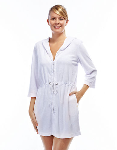 Roots Spa Terry Hooded Cover Up-WHITE-Large