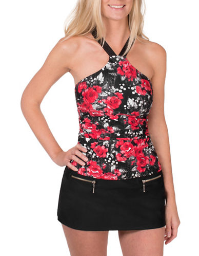 Point Zero High Neck Tankini-RED-12