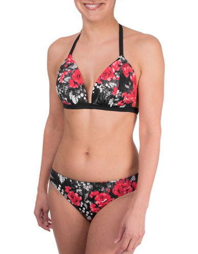 Point Zero Floral Print Adjustable Strap Bikini Top-RED-8
