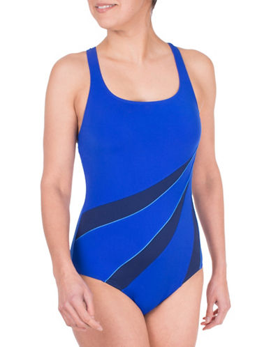 Roots One-Piece Triple Spliced Colourblock Swimsuit-BLUE-8
