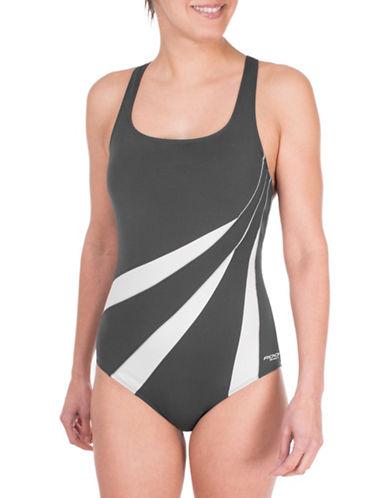 Roots One-Piece Triple Spliced Colourblock Swimsuit-GREY-8