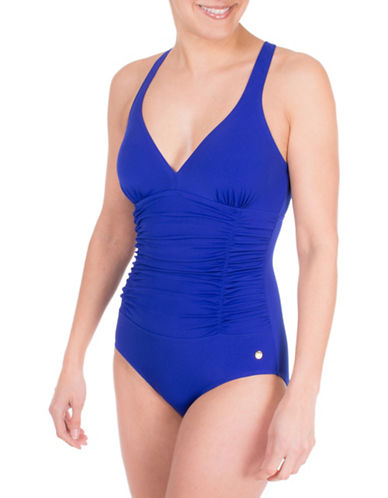 Roots One-Piece Cross Back Shirred Swimsuit-BLUE-10